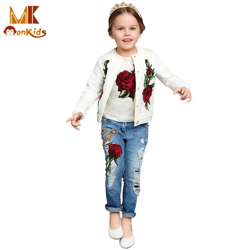 Monkids Girl Clothing Sets for Baby Suit Girls Children T-shirt+Coat+Holes Jeans Kids Outfit