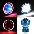 Hi/Low Haz Proyector LED Angel Eye Faro Para La Motocicleta Roja Azul ojo del diablo para honda cbr suzuki gsxr yamaha yzf r1 r6 ZX6R