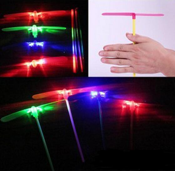 1200pcs Free Shipping DHL LED Flash Bamboo Dragonfly Flying Arrow Helicopter Light Up Toy Baby Children Outdoor Play YH307