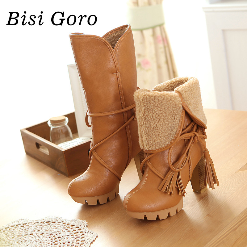 ФОТО BISI GORO 2017 new autumn winter women riding boots female high heels thick heel leather women boots lace up high boots