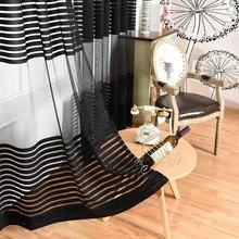 Monder стиль черный занавес s основа Вязание вуаль занавес Окно Современная Гостиная тюль занавес s Кухня прозрачные ткани Cortinas
