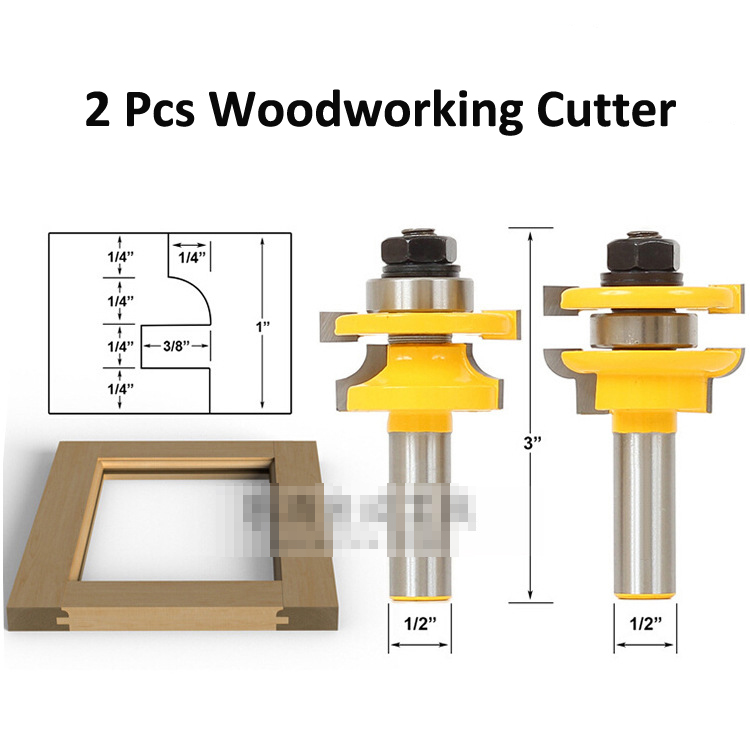 handle high - end tenon knife Rail and Stile Router Bits with Matched 2 Bit Round-Over 1/2-Inch Shank 2pcs high quality 1 2 inch shank rail