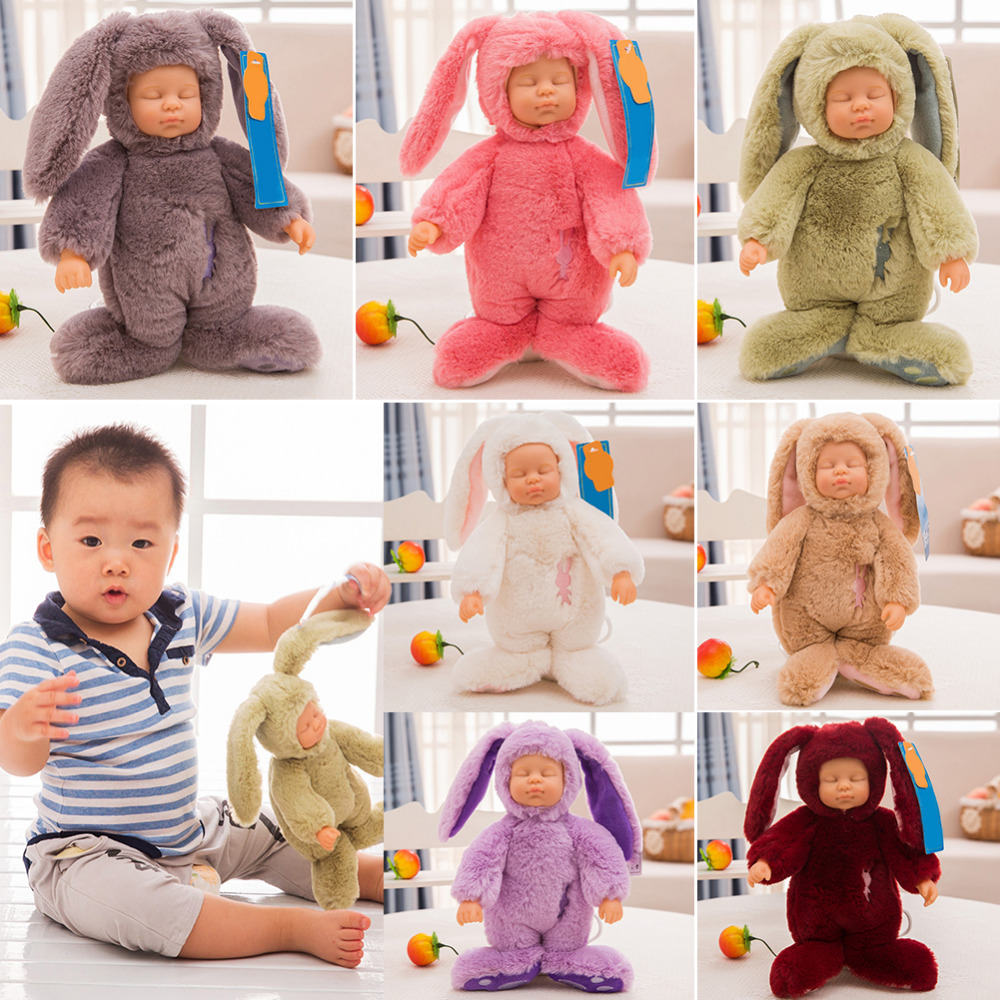Innovative Winter Rabbit Sleep Soothing Doll Comforter Kids Simulated Sleeping appease Vinyl Dolls Plush Toy Girl Boys Baby Gift