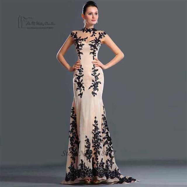 Vestido de Festa Longo elegante Champagne negro encaje vestidos noche largo  sirena fiesta por la noche 705c6972a1b8