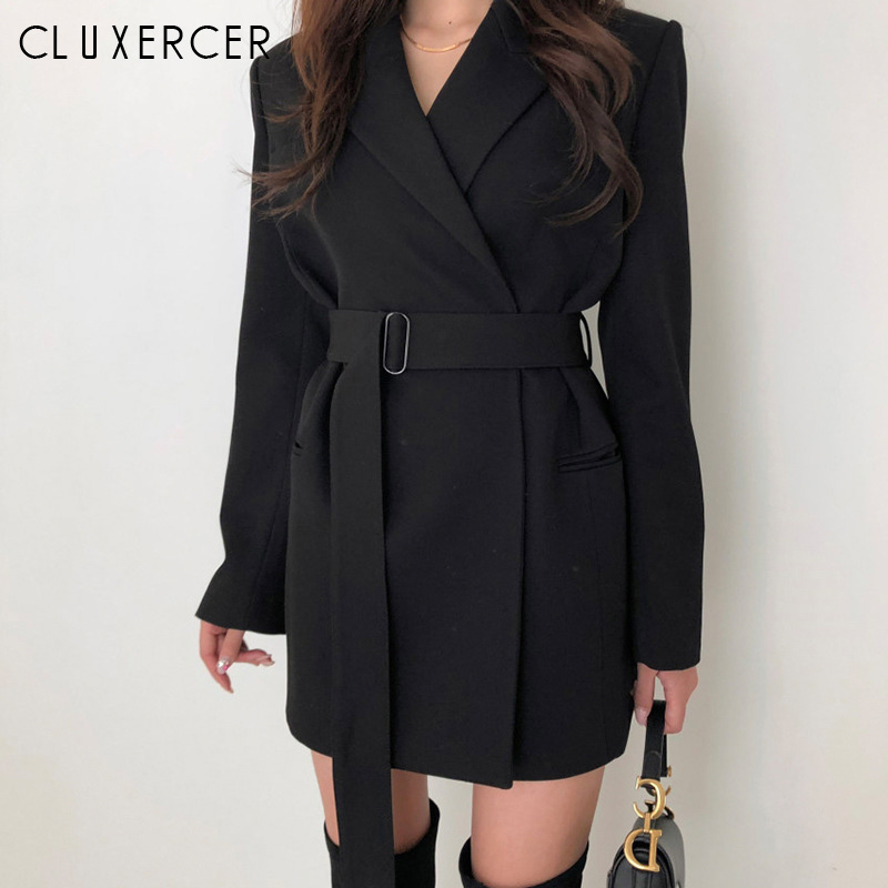 2019 New Korean Blazer Spring Autumn Slim With Belt Blazer Women Casual Long Blazer Women
