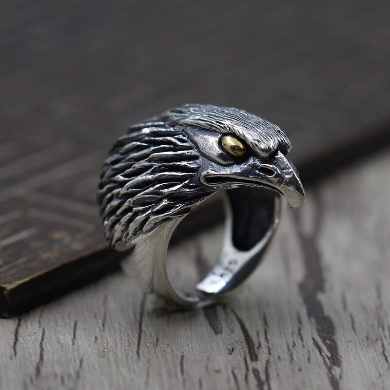 Thai argent rétro ancien sculpté aigle personnalité anneau S925 sterling silve faire hommes dominateur anneau ouverture