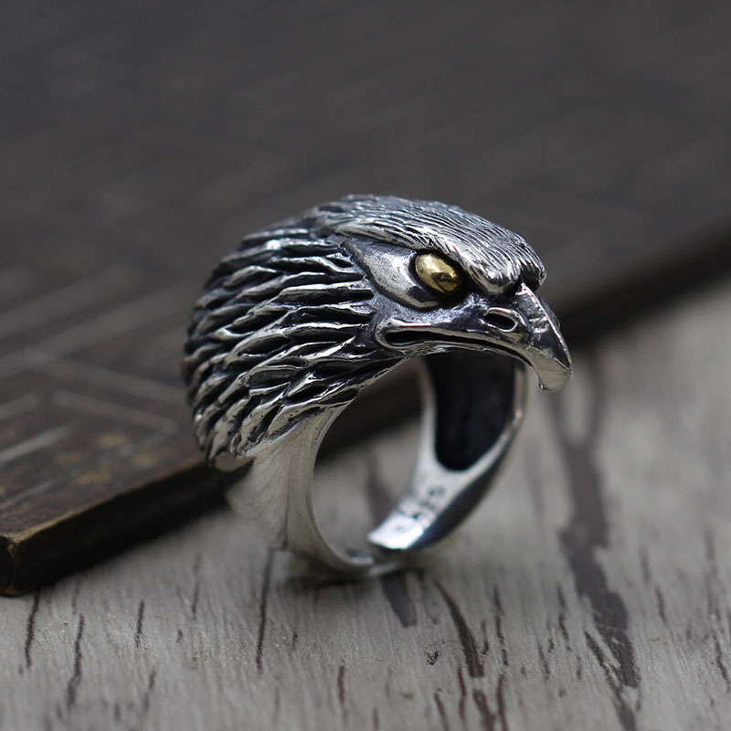 Thai silver Retro Old Carved Eagle personality ring S925 sterling silve making men domineering ring opening цена