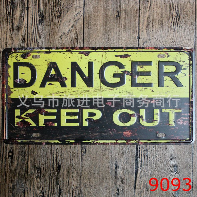 LOSICOE Vintage license plate DANGER KEEP OUT Metal signs home decor Office Restaurant Bar Metal Painting art 15x30 CM