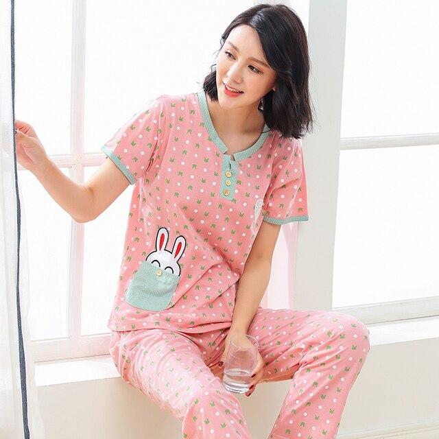 dcbeca764c31 Summer New Women s Pajamas Cotton Cartoon Pajama Sets Girls Lounge Mujer  Sleepwear Casual Pyjamas Plus Size 3XL Home Clothing