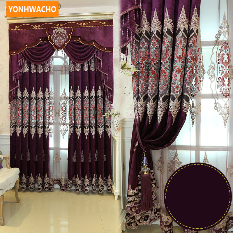 Custom curtains High grade thick chenille luxury European embroidery purple cloth blackout curtain tulle valance drape N760