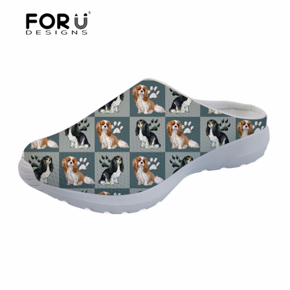 Bright Forudesigns Summer Shoes Platform Sandals Cavalier King Dog Printing Slipper Female Womens Sandals 2018 Breathable Sandalias Low Heels
