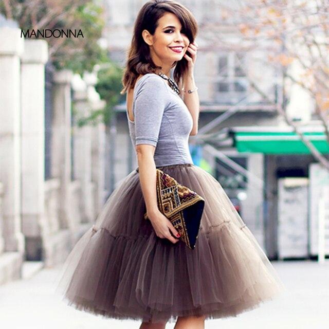 Elegante falda de tul de 5 capas falda tutú elástica falda de mujer Falda  plisada de 60efab346160