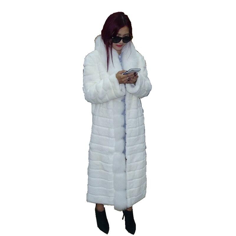 Dame Echt Geschert Kaninchen Pelz Mantel Jacke Fuchs Pelz Kragen Herbst Winter Frauen Pelz Graben Oberbekleidung Mäntel Plus Größe 4XL 5XL VF4044