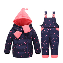 2016 Winter Children's Clothing Set Kids Ski Suit Overalls Baby Girls Down Coat Warm Snowsuits Jackets+bib Pants 2pcs/set 0-4t