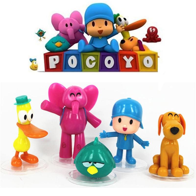 5pcs Cartoon Pocoyo Zinkia Pato Loula Pocoyo Elly Sleep Birds Toys Action Figurine Kids Unisex Gift Toys 5pcs/set