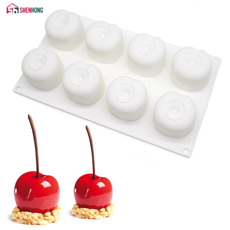 SHENHONG Cherry Silicone Mousse Mould DIY ატმის ნამცხვრის საცხობი Moule Pudding Chocolate Pies Brownie Dessert Bakeware