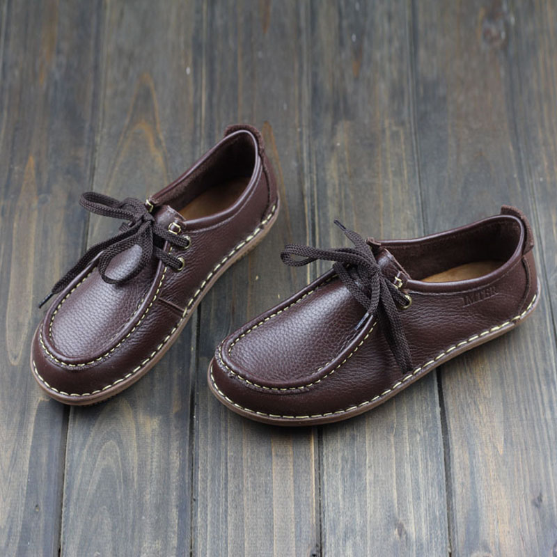 Women Shoes Hand made Genuine Leather Flat Shoes Coffee Brown Ladies Flat Shoes Casual Lace up