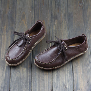 Women Shoes Hand-made Genuine Leather Flat Shoes Coffee/Brown Ladies Flat Shoes Casual Lace up Female Footwear (1957-2) leather