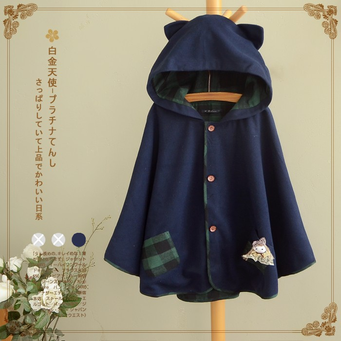 Cat Ear Pocket Tail Cape Women Harajuku Cloak Hoodies Winter Warm Lolita Jacket Kawaii Soft Cute Gray/Navy blue Japanese Coat