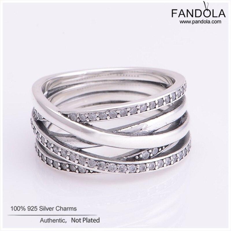 FANDOLA Ring 925 Sterling Silver Entwined Clear CZ Wedding