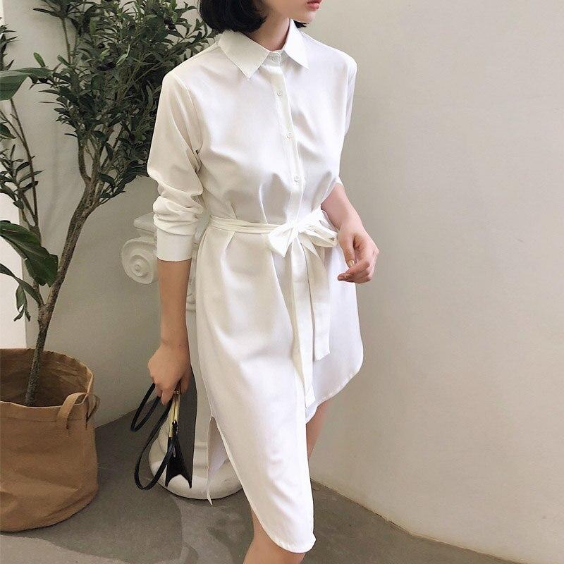2018 Asymmetry White   Blouse     Shirt   Women Autumn Long Sleeve Elegant Belted   blouse   plus size ladies Top clothes blusas feminina