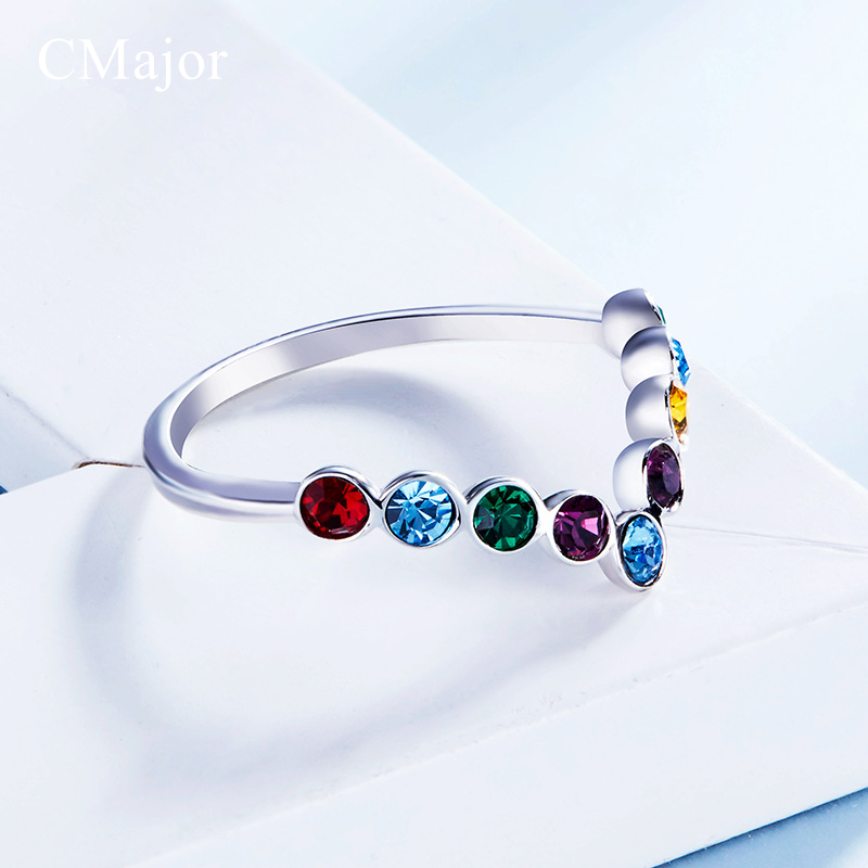 CMajor Unique Design Trend Style Sparkling Crystal Ring Delicate Multicoloured Crystal Rings For Women Sterling Silver