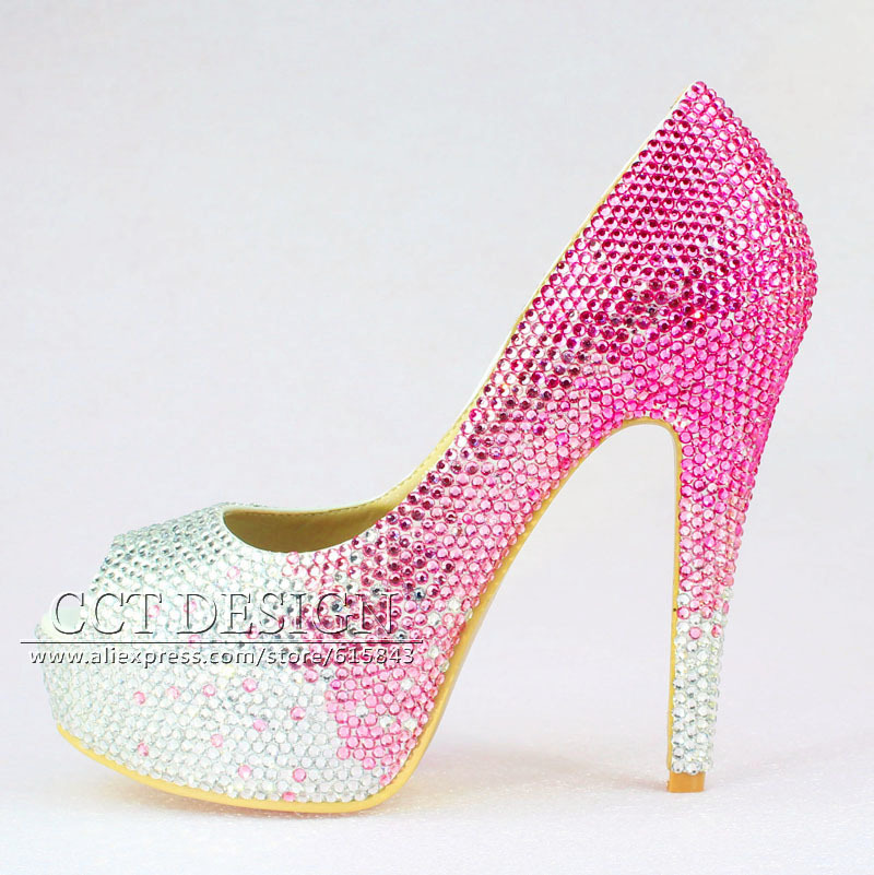 free shipping customized peep toe platforms silver and hot pink rhinestone  high heels luxury women crystal wedding bridal shoes-in Women s Pumps from  Shoes ... ce3811956