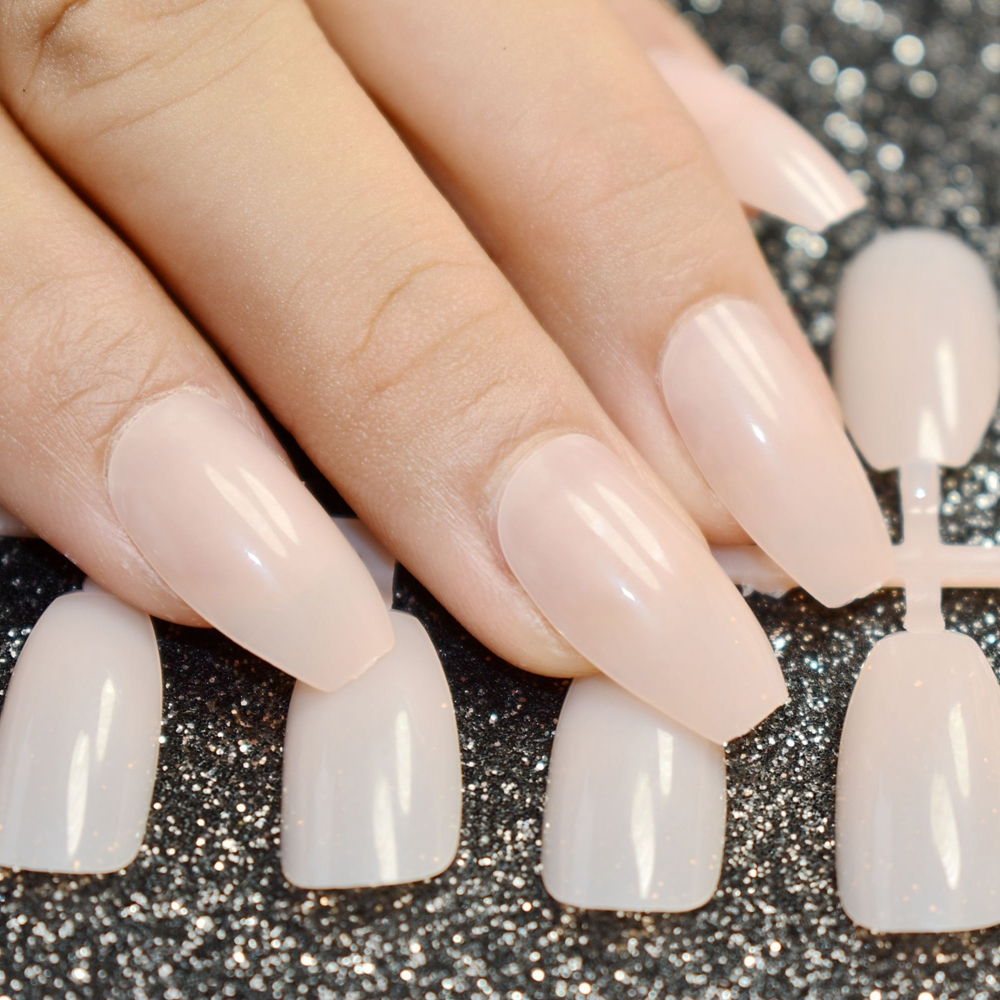Two Color Ballerina Half Nail Tips Transparent Natural Long Coffin ...