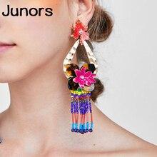 цены Bohemia black beads tassel earrings for women handmade boho flower vintage ethnic large earrings big women 2019 Fringe Hanging
