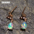 ZHHIRY Natural Fire Opal Earring Genuine Solid 925 Sterling Silver Real Gem Earrings Women Stone Fine Jewelry