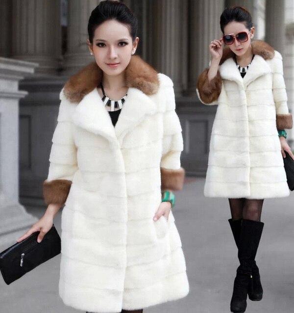 Hiver Femmes Mode Faux Manteaux De Fourrure Col De Fourrure Moyen Long  fourrure Vestes Femme Imitation cdd1577aa77