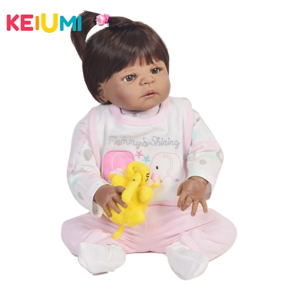 все цены на KEIUMI 57 cm Full Silicone Reborn Baby Girl Dolls Realistic Handmade Ethnic Boneca Reborn Brinquedos For kids Birthday Gifts онлайн