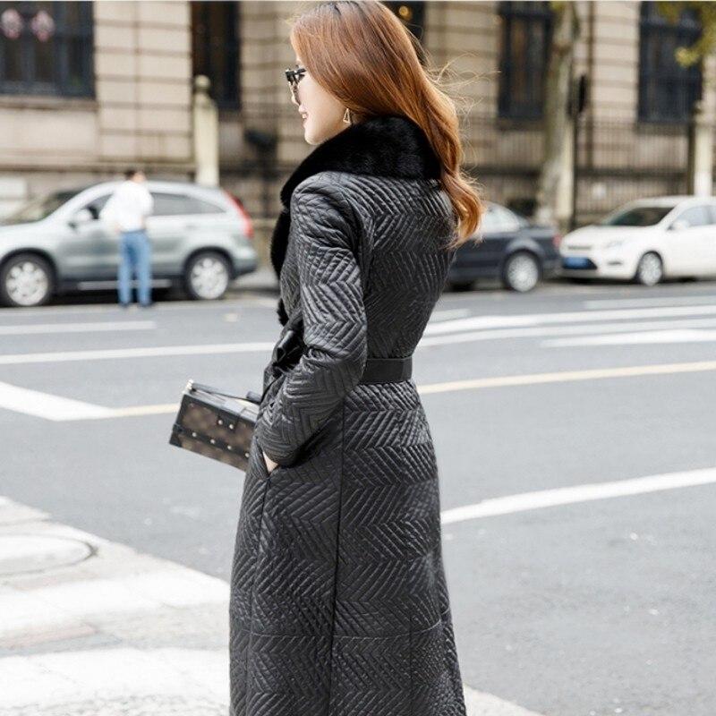 Dames Fourrure 100En Peau Manteau Luxe Fit Veste Black Bureau Slim Vison Mode Femme De Ceinture Vêtements Long Mouton Cuir Col Véritable Noir Nwvmn80