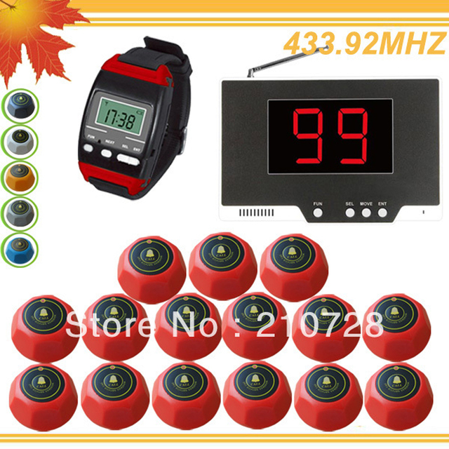 433.92MHZ guest paging system mobile receiver table call button suits for meseros with 99P+650+15M DHL free shipping