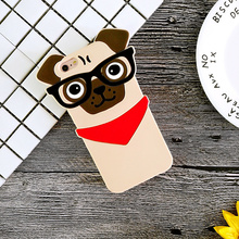 Fashion 3D Pug Dog With Glasses Protective Silicone Cover Phone Cases For iPhone 5 5s Se