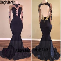 XingPuLanEr Long Sleeve Lace Prom Dresses for African Girls with Lace Appliques Backless Sexy See Through Special Occasion Dress