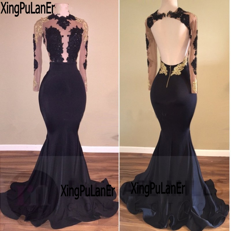 Us 12788 8 Offxingpulaner Long Sleeve Lace Prom Dresses For African Girls With Lace Appliques Backless Sexy See Through Special Occasion Dress In