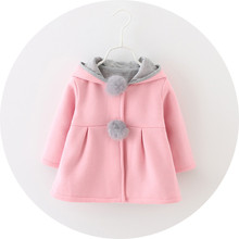 Baby girls coat Winter 봄 Baby Girls 긴 Sleeve Coat Jacket Rabbit 귀 Hoodie 캐주얼 겉 옷 대 한 girls 옷(China)