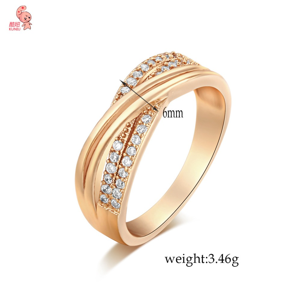 New Intersect Crystal Zirconia Wedding Ring Womens For Gift Birthday Fashion Charm For Girlfriend Golden Ring