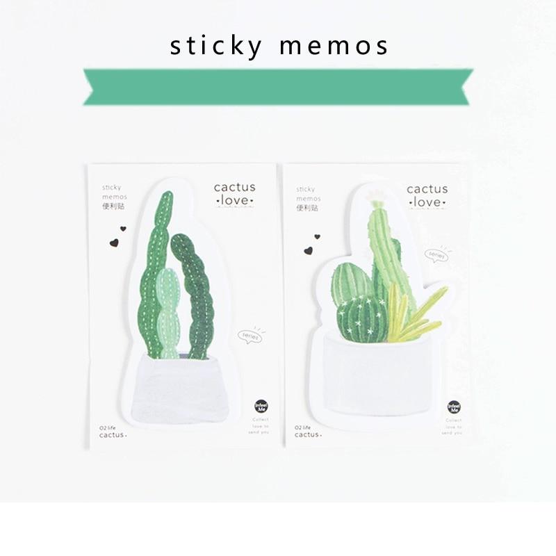 4 stks / partij Groene Cactus plakbriefjes Groene planten memo pads - Notitieblokken en schrijfblokken bedrukken - Foto 5