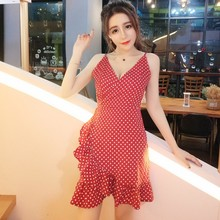 цены Women Dot Pattern Print Spaghetti Strap Dress Sexy V Neck Mini Dress  Irregular Ruffles Hem Dresses  Beach Sexy Vestidos Ladies