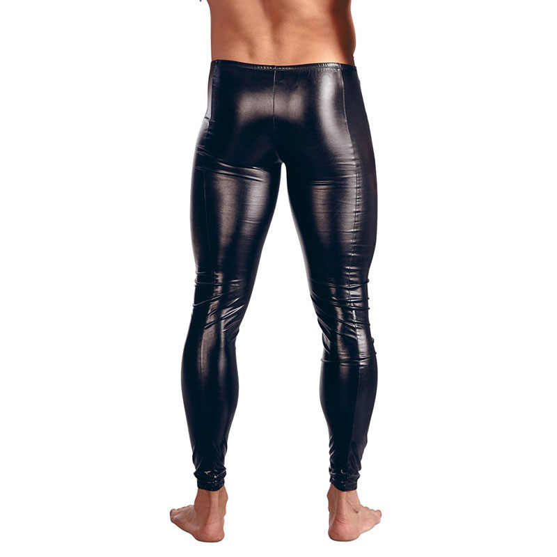 ac97604d3cbac ... Sexy Men Skinny Faux PU Leather Pants Wetlook Black Trousers Stage  Performance Zipper Front Leather Pants