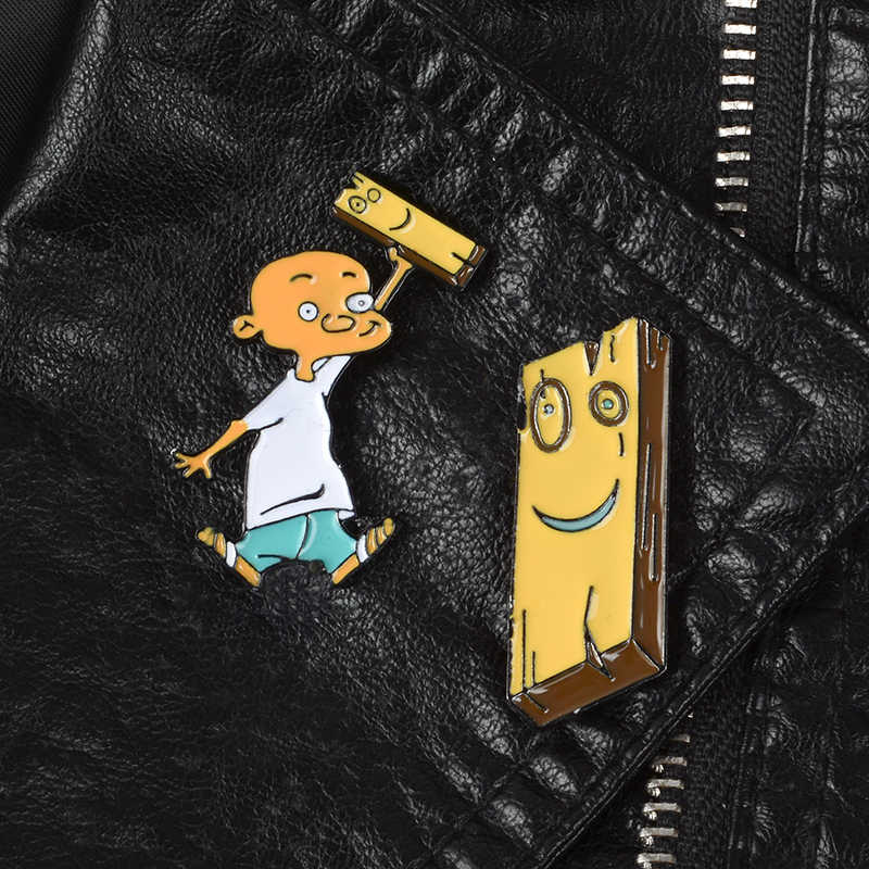 Karakter Kartun Edd & Eddy Air Jonny Anime Lucu Bros Denim Ransel Keren Lencana Enamel Pin Hadiah Kreatif untuk Teman dan Anak