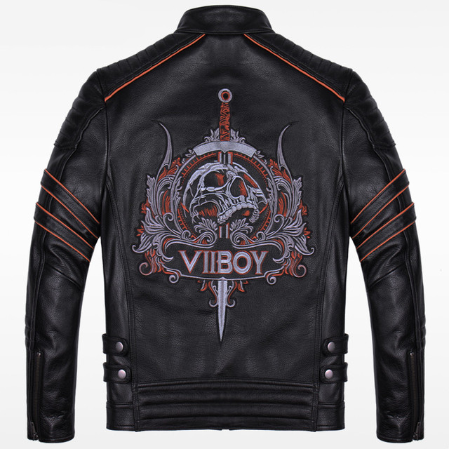 2017 New Men Skull Embroidery Men Leather Motorcycle Jacket Black Stand Collar Genuine Thick Cowhide Slim Fit Coat FREE SHIPPING