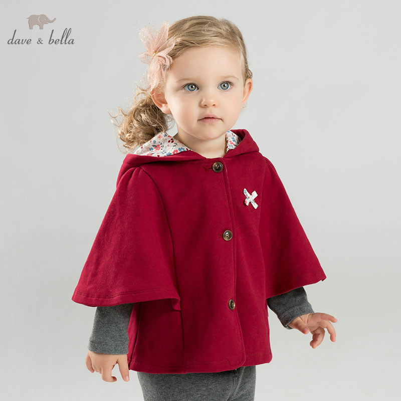 DBM8638 dave bella autumn winter infant baby girls coat toddler Hooded coats children high quality outerwear db6124 dave bella autumn infant baby boys girls coat fashion clothes toddler boys print hooded coats children high quality