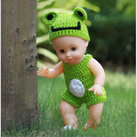 35cm Green Knitted Dress Blink Eyes Realistic Lovely Reborn Soft Vinyl Baby Dolls Cheap Toys