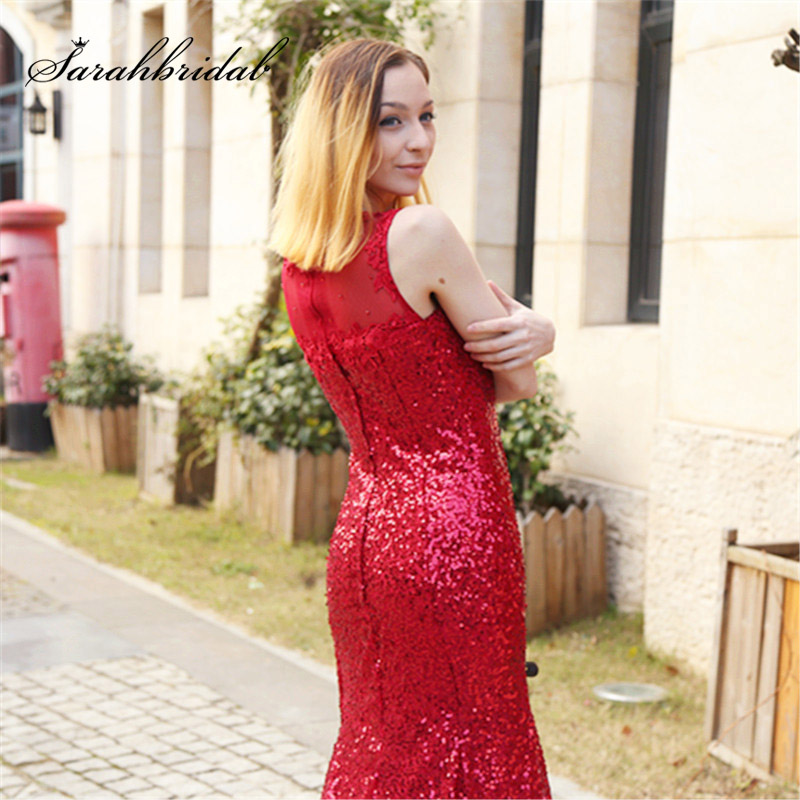 Cheap Shining Celebrity Dresses 2018 Sequin Sheer Neck Sleeveless Long Mermaid Evening Party Gowns Formal Red Carpet Dress OS197