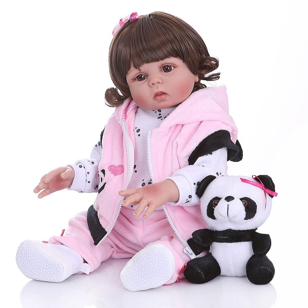 Bebes reborn poupée 47 cm silicone souple reborn bambin bébé poupées com corpo de silicone menina noël surprise cadeaux lol poupée