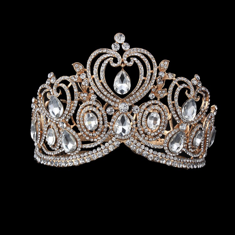 Sparkling Crystal Rhinestones Big Crown Hairband Pageant Princess Bridal Queen Crown Tiara Wedding Hair Accessories Headwear vintage gold round crystal tiara baroque rhinestones princess queen crown for bride hair accessories wedding crown hair jewelry