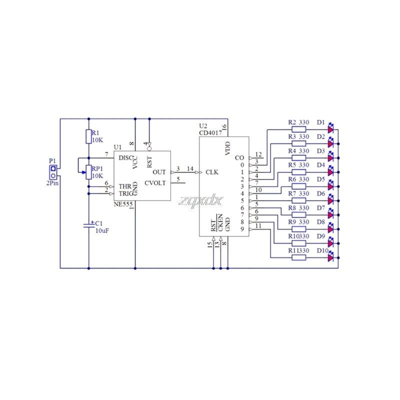 Integrated Circuits Electronics 4017 Running Water Light Diy Kit Ne555 Led Horse Race Lamp Training Drop Ship